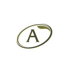 swoosh leaf letter a vector image