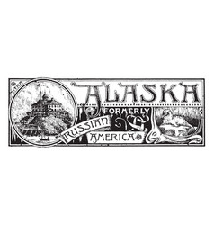 the state banner of alaska vintage vector image