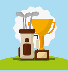 trophy golf clubs in bag champion vector image