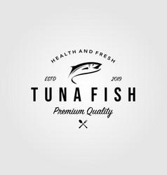 tuna fish logo premium vintage retro label seafood vector image