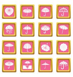 umbrella icons set pink square vector image