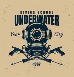 Underwater diving school emblem or logo template vector