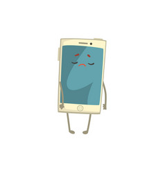 unhappy smartphone character with arms and legs vector image