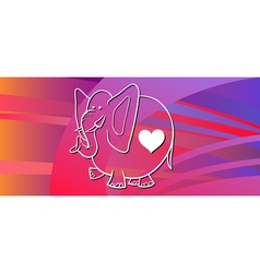 valentine card with elephant vector image