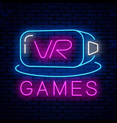 virtual reality neon sign design vector image