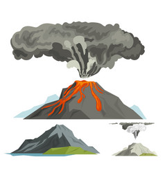 volcano magma nature blowing up with smoke vector image