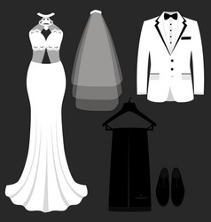 wedding card with clothes bride and vector image