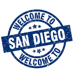 welcome to san diego blue stamp vector image