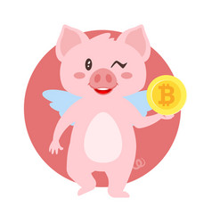 Winking pig holding bitcoin vector