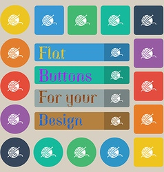 Yarn ball icon sign Set of twenty colored flat vector image