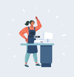 Young cashier at checkout in supermarket vector
