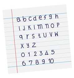 designer sketched alphabet in blue ink on paper vector image