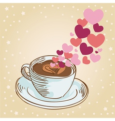 Tasty coffee cup greeting card vector image vector image