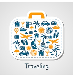 Travel holiday suitcase paper cut vector image