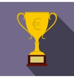 Winner cup with euro sign icon flat style vector image vector image