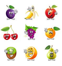 Funny cartoon fruits icons set vector image