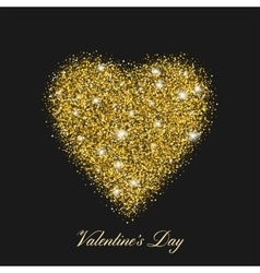 Heart shaped brilliant golden shine With shining vector image vector image