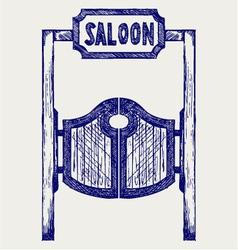 Old western swinging saloon doors vector image vector image