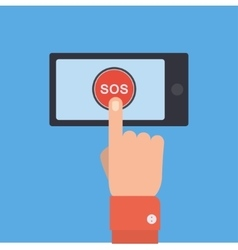 SOS button with hand vector image