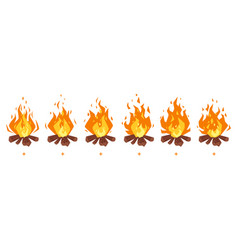 camp fire sprites for animation vector image vector image
