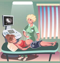 doctor holding ultrasound of a pregnant woman vector image vector image