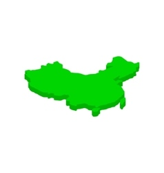 Green map of China icon isometric 3d style vector image