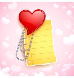 Heart Shape Paper Clip vector image