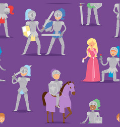 Knight cartoon hero character with horse and vector
