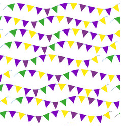 mardi gras flag seamless pattern bunting endless vector image