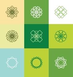 Abstract lineart monogram flower logo set vector