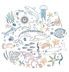 Concept Set of Cute Sea animals fish Color vector image
