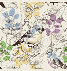 cute birds and flowers seamless pattern vector image vector image