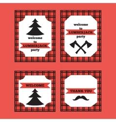 Printable set of vintage Lumberjack invitation and vector image vector image