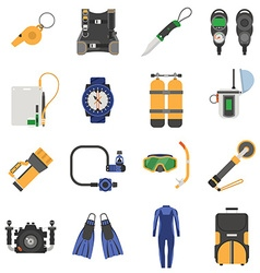 Snorkeling and Diving Activity Equipment vector image vector image