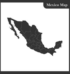 the detailed map of the mexico with regions vector image vector image