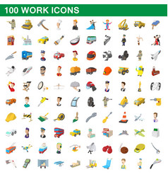 100 work icons set cartoon style vector image