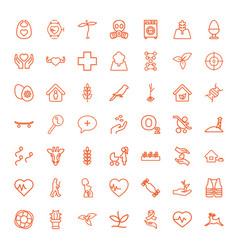 49 life icons vector image