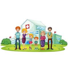 A big family near the hospital vector image