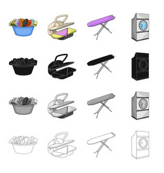 A bowl with laundry ironing machine washing vector