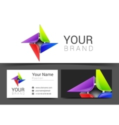 Abstract decorative multicolor business card for vector