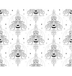 abstract honey bee seamless patterns with stars vector image