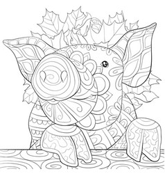 Adult coloring bookpage a cute pig wearin a crown vector
