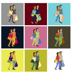 Assembly flat icons guy and girl with shopping vector