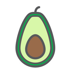 Avocado line icon fruit and tropical vector