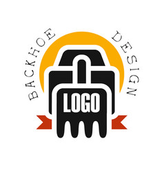 Backhoe logo design excavator equipment service vector