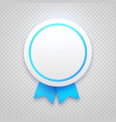 Badge with blue ribbon on transparent background vector