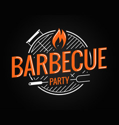 Barbecue grill logo on black background vector