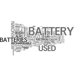 Battery sizes and types text word cloud concept vector