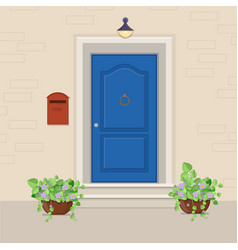 blue front door with a mailbox on the wall and vector image