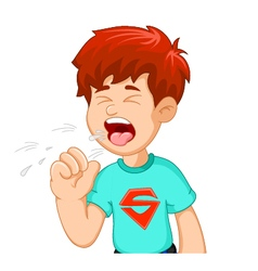 Boy cartoon coughing for you design vector